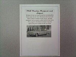 1962 Pontiac TEMPEST cost/dealer retail window sticker pricing car + options '62