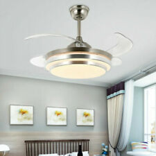 """42"""" Retractable Ceiling Fan Lamp Dimmable LED Chandelier Light Remote Control"""