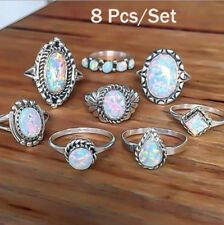 8Pcs/Set Women Silver Plated Opal Ring Set Vintage Wedding Band Engagement