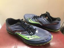 Saucony Men's Kilkenny XC5 Flat S29004-1 Blue Neon Green Size 12.5 with Spikes