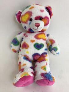 "Build A Bear Multicolor Rainbow Heart 16"" White Plush Bear Love Valentine's Day"