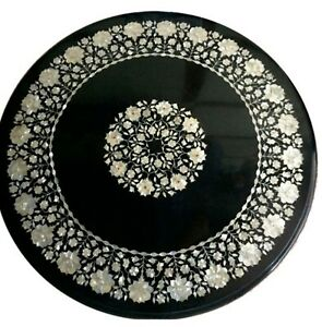 42 Inches Black Dining Table Top Marble Restaurant Table with Mother of Pearl