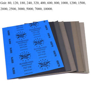 9'' x 11'' Wet and Dry Sandpaper 80 - 10000 Grit Waterproof Sanding Paper Sheets