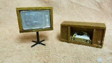 DOLLHOUSE MINIATURES TELEVISION TV ON STAND + RECORD PLAYER IN WOODEN STAND #25