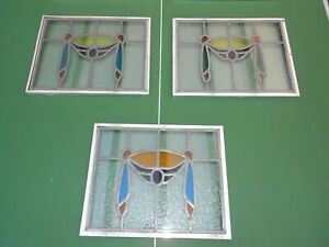 3 x 20mm DOUBLE GLAZED STAINED GLASS LEADED ONE SIDE OBSCURE GLASS WINDOW PANELS
