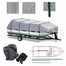 Delexe Trailerable All Weather Pontoon boat cover Grey Fits 25'- 28' L