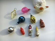 Rare small Vintage Christmas Decoration, Soviet Glass Ornaments Lot 10