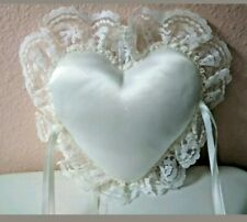 Heart Shape Pillow-Satin and Lace-Ivory-Size Approx 8 X 7