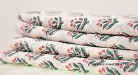 2.7m Indien Course Couture Tissu Coton Imprimé Vert Feuille Décor Main Bloc