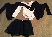 Girl's dancewear leotards size XS and 4/5 black skirt black and pink tops 104