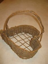 Lg Natural Rustic Brown Woven Heart Table Basket w/Handle Valentine/Wedding