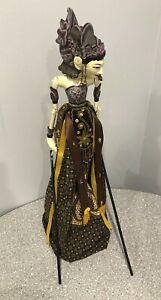 Vintage Wayang Golek Wooden Bali Puppet Indonesia Asian Stick Puppet Marionette