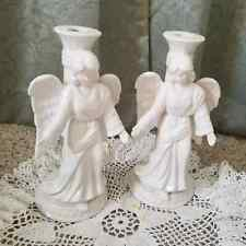 """Ceramic Angel Candle holders (2) white hand made 10"""" tall"""