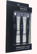 DOLABEY Professional Stainless Steel Tweezers - Slant Point Flat Tip FREE Case