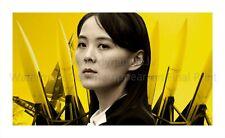 "North KOREA DPRK Propaganda Poster Print Kim Yo-jong Portrait, Missiles 22x36"""