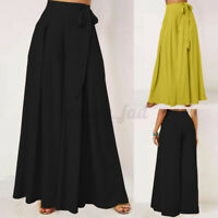 Womens High Waist Flare Wide Leg Baggy Pants Culotte Long Palazzo Trousers Dress