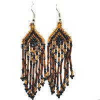 """Copper Black Glass Bead Southwest Style Earrings 3.25"""" Dangle Chandelier (sp96)"""