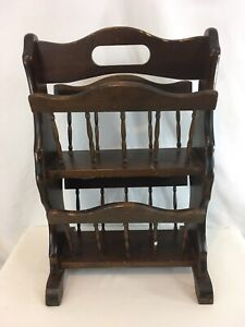 Vtg Antique 2 Tier Solid Wood Farmhouse Cabin Midcentury Retro Magazine Rack