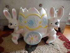 Vintage RELPO EASTER BUNNY Rabbit EGG PLANTER Pastel Pottery Nursery Baby Shower