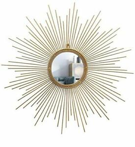 Handmade Sunburst Gold Decorative Metal Wall Mirror For Home Decor 24 Inches