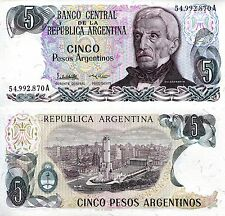 ARGENTINA 5 Peso Banknote World Paper Money UNC Currency Pick p312a Note Bill