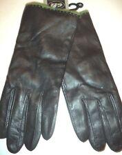 Ladies Olive Angora/Lambswool Lined Genuine Leather Gloves,Black,Medium
