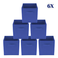 Blue Foldable Square Canvas Storage Collapsible Folding Box Fabric Cubes Toys