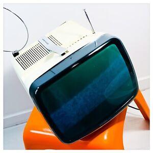 "BRIONVEGA Televisore TV Vintage ALGOL 3 B/N 12"" Anni '70 Bianco Funzionante"