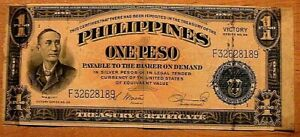 1944 Philippines WWII Victory 1 Peso VF Original Banknote Currency Paper Money