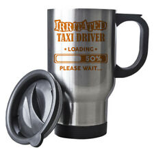 Orange Irritated Taxi Driver Loading Funny Gift Idea Silver Travel Mug work 206