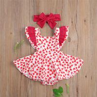 2PCInfant Baby Girl Valentine/'s Day Heart Print Ruffles Romper Jumpsuit+Headband