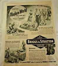 Vintage Briggs & Stratton B/W Magazine AD. Great Graphics & History