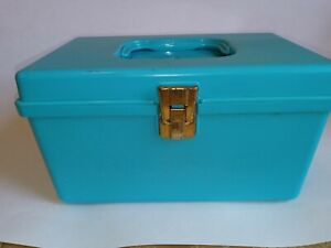 Vintage Wilson Wil-Hold Sewing Teal Plastic Storage Box Needles Thread Notions