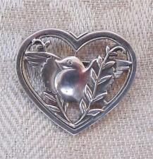 Sterling Brooch by CORO: The DOVE OF PEACE Amonst Olive Twigs in a Heart