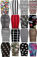 WOMENS GIRLS PRINTED STRETCHY PENCIL BODYCON WIGGLE MIDI SKIRT PLUS SIZE 8-26