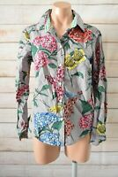 Boden Button Front Shirt Blouse Size 10 Purple Yellow Blue Red Floral