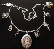 Alice in Wonderland NECKLACE Pig Baby Tenniel Silver Locket Charm Steampunk