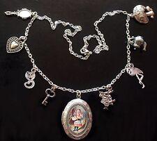 Alicia en el país de las maravillas collar de plata de cerdo bebé Tenniel medallón encanto Goth Steampunk