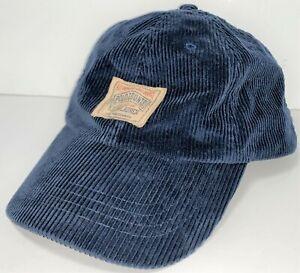 VTG Ralph Lauren Polo Country Navy Corduroy Adjustable Leather Strap Hat Cap