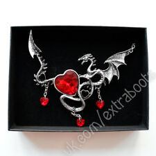 Dragon Necklace with Red Crystal Gemstone on a Chain Gothic Jewelry Pendant