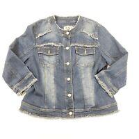 AMI Blue Denim Pockets Metal Button Down Cotton Jean Jacket Womens L Large