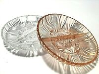 DEPRESSION GLASS DISHES DIVIDED SET OF 2 PINK & CLEAR 6 3/4 INCHES STAR DESIGNS