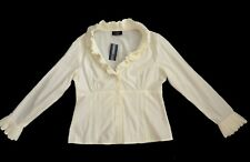 Principles Cream 1970's Victorian style Ruffled Fitted Tailored Shirt Blouse 14