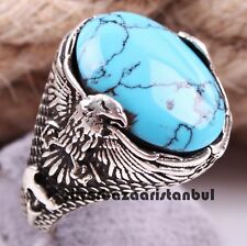 Turkish Jewelry 925 Sterling Silver Blue Turquoise Mens Mans Ring us ALL SİZE