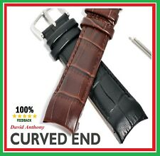 Superb Luxury CURVED END Genuine Calf Leather Watch Strap. 20mm, 22mm or 24mm