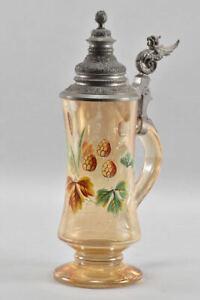 h22d09- Glas Bierkrug mit Zinndeckel handbemalt