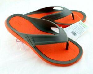 New CROCS Saltwater Wave Size 8 Gray / Tangerine Men's Flip Flops RETAIL $29
