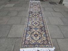 Fine Traditional Hand Made Persian Wool Silk Cream Blue Carpet Runner 391x87cm