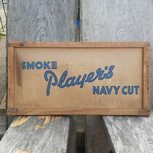 Players navy cut sign shipping box advertising wall hanging vintage man cave L12