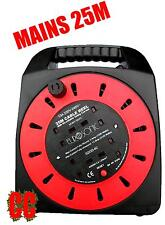 25M mains 240v multi socket adapter 4 way extension REEL cable plug power lead